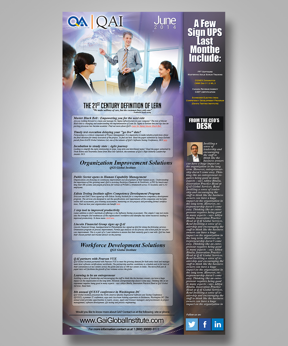 modern upmarket consulting newsletter design for a company by