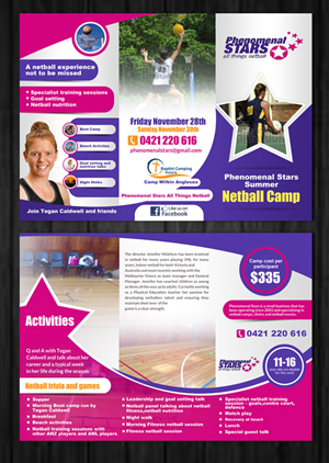 Brochure Design by ESolz Technologies - Phenomenal Stars Summer Netball Camp