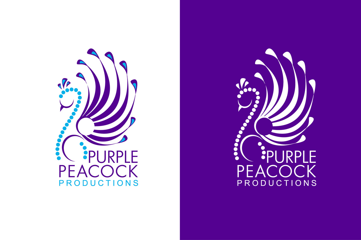 logo design for purple peacock productions by
