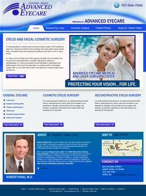 Web Design job – Advanced Cataract Surgery and Cosmetic Eyelid Surgery – Winning design by Expert Designer