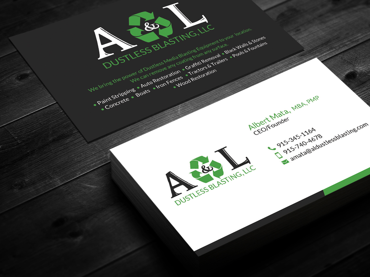 Professional elegant business card design for albert mata by business card design by smart designs for al dustless blasting business card design 4194459 magicingreecefo Choice Image