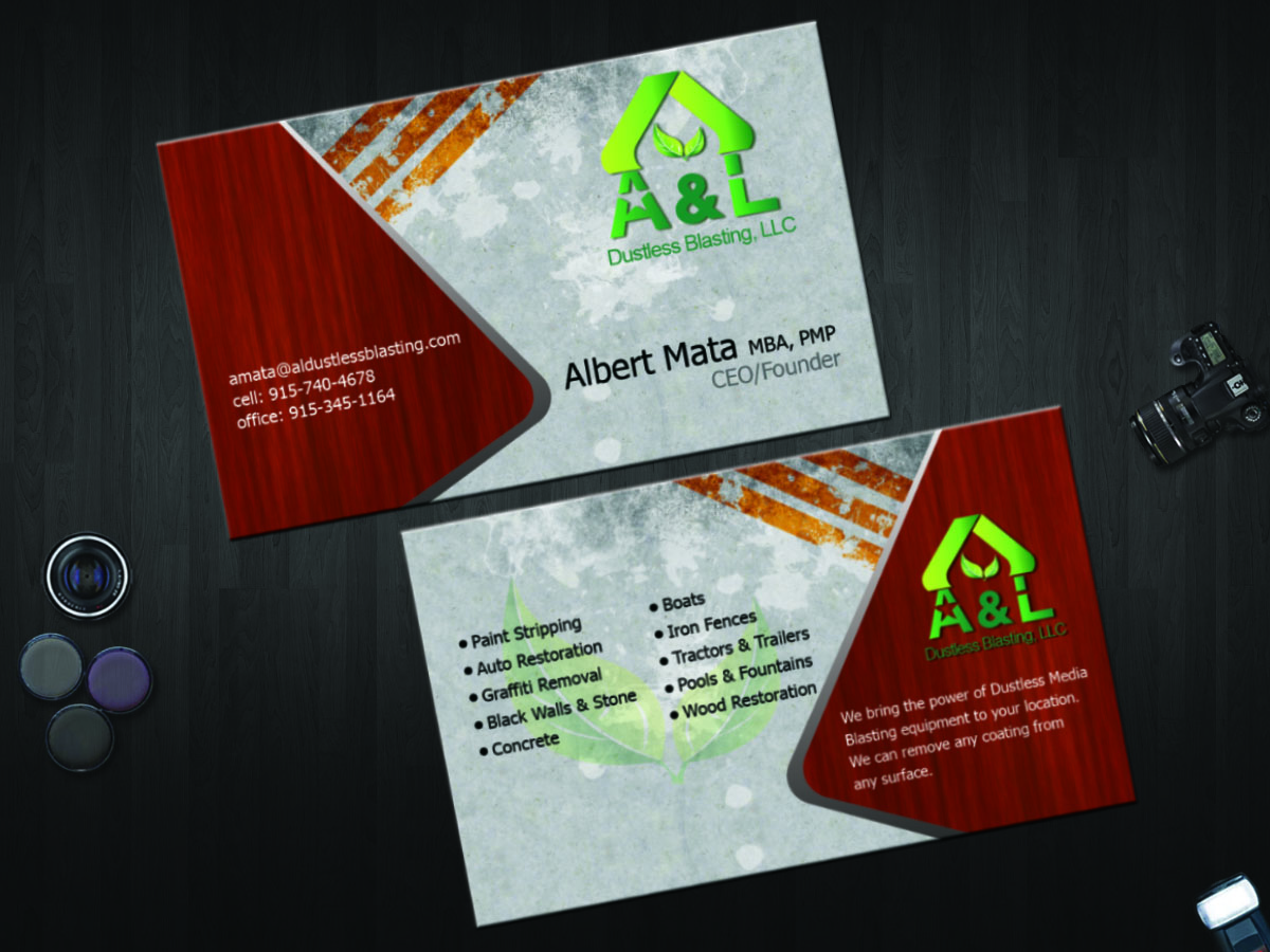 Professional elegant business card design for albert mata by business card design by shitalkarkhanis26 for al dustless blasting business card design 4209074 magicingreecefo Choice Image
