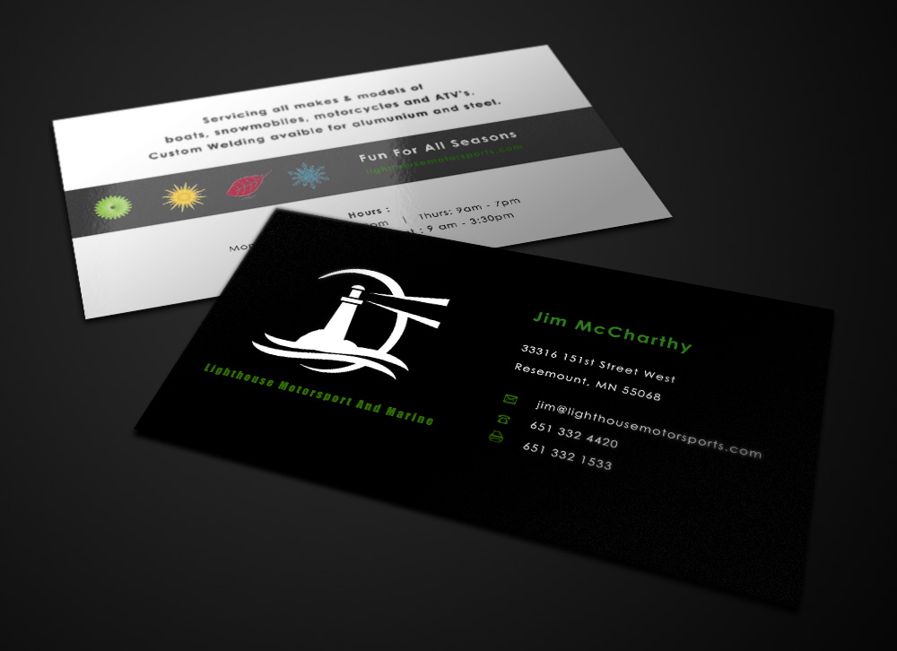 Business Card Design for Lighthouse Motorsports and Marine by Eggo ...