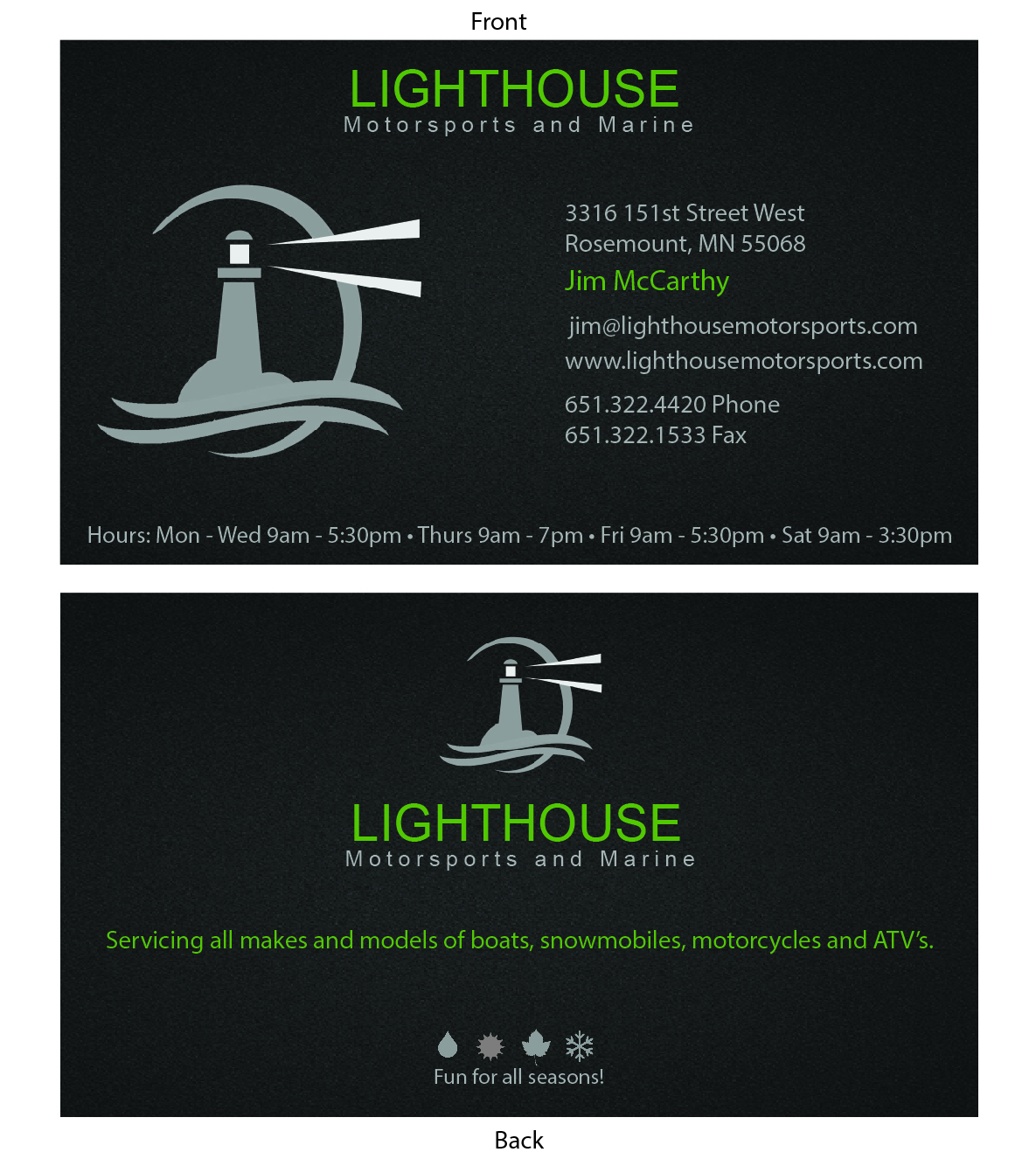 Business Card Design for Lighthouse Motorsports and Marine by ...