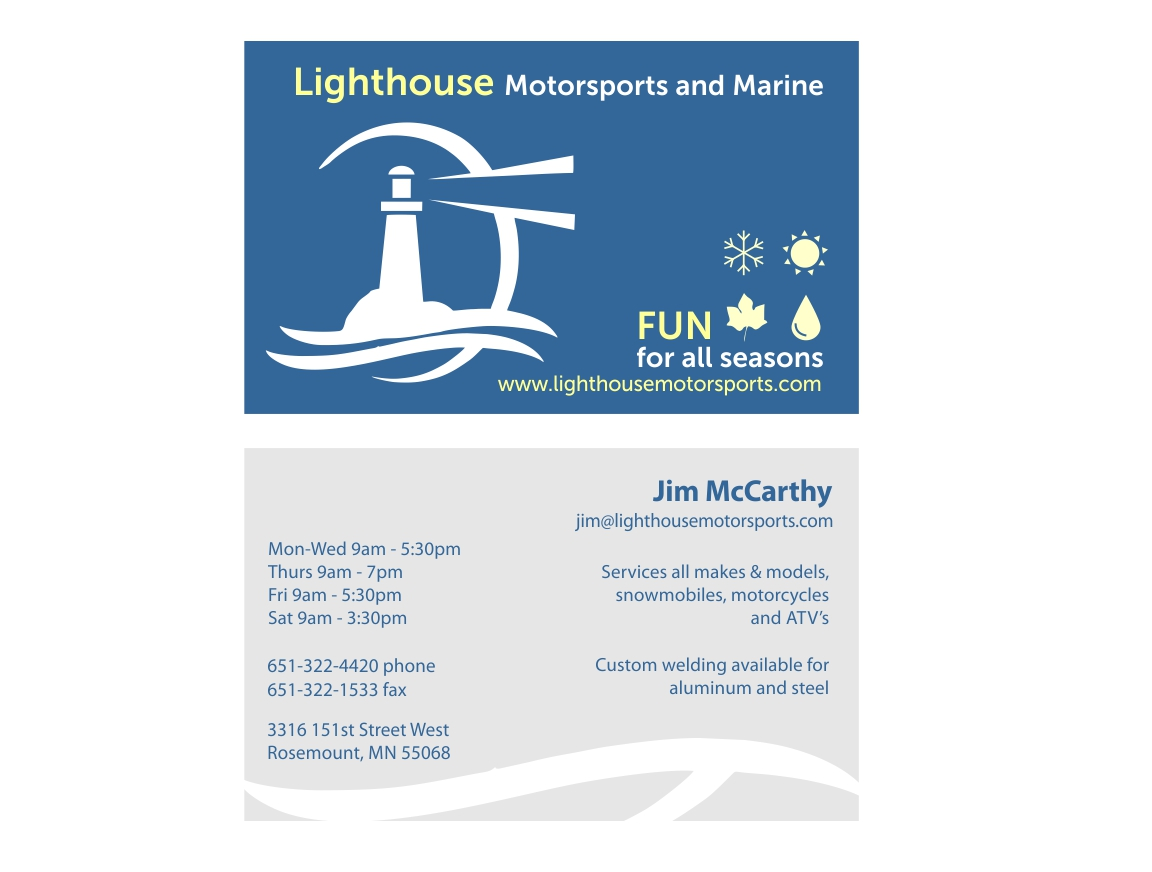 Business Card Design for Lighthouse Motorsports and Marine by cdiaz ...