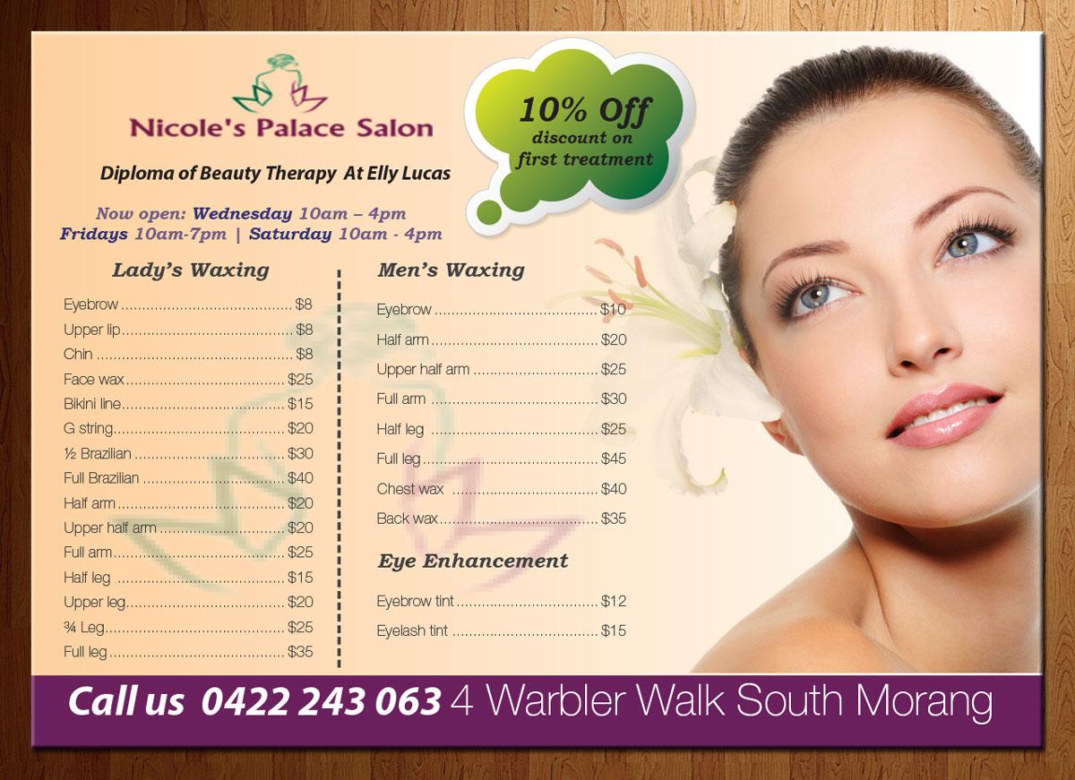 beauty salon flyer design for a company in australia design 4200789