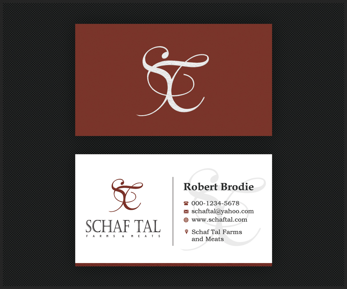 Elegant serious business card design for schaf tal farms schaf business card design by ethien for livestock farm and meat distribution enterprise needs upscale business card magicingreecefo Choice Image