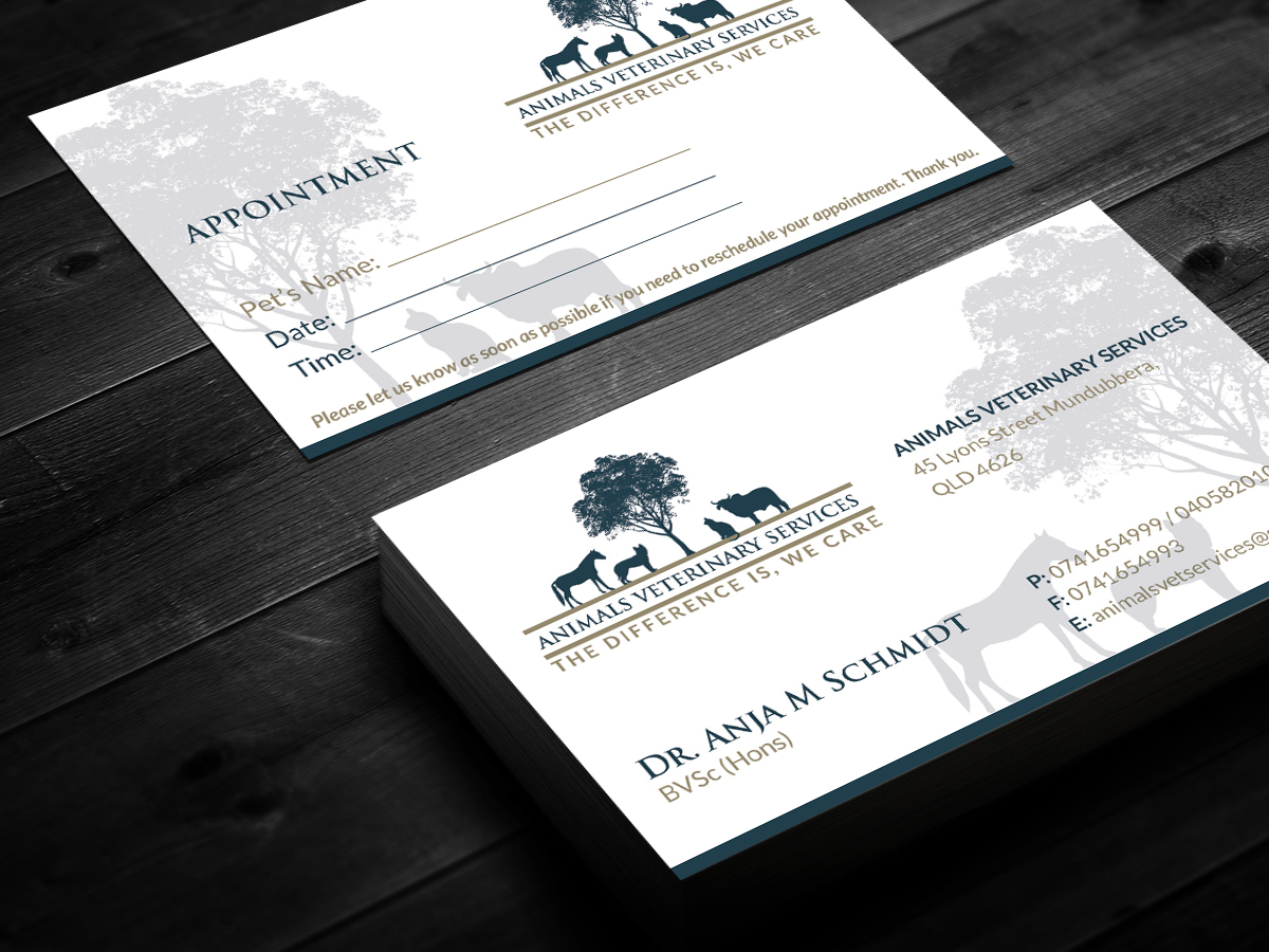 Modern upmarket veterinary business card design for a company by business card design by smart designs for this project design 4266223 reheart Image collections