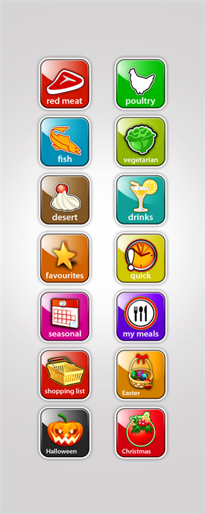 Icon Design job – phone app icons for recipes – Winning design by disign