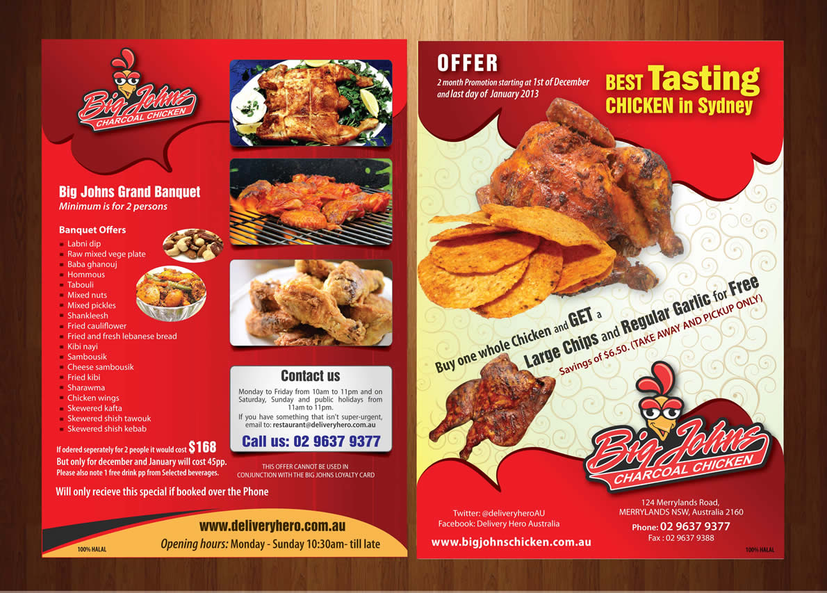 elegant playful shop flyer designs for a shop business in flyer design design 1195983 submitted to big johns charcoal chicken christmas flyer special