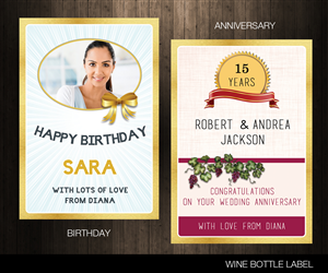 Graphic Design by Offbeat Visuals - Personalised Wine Labels