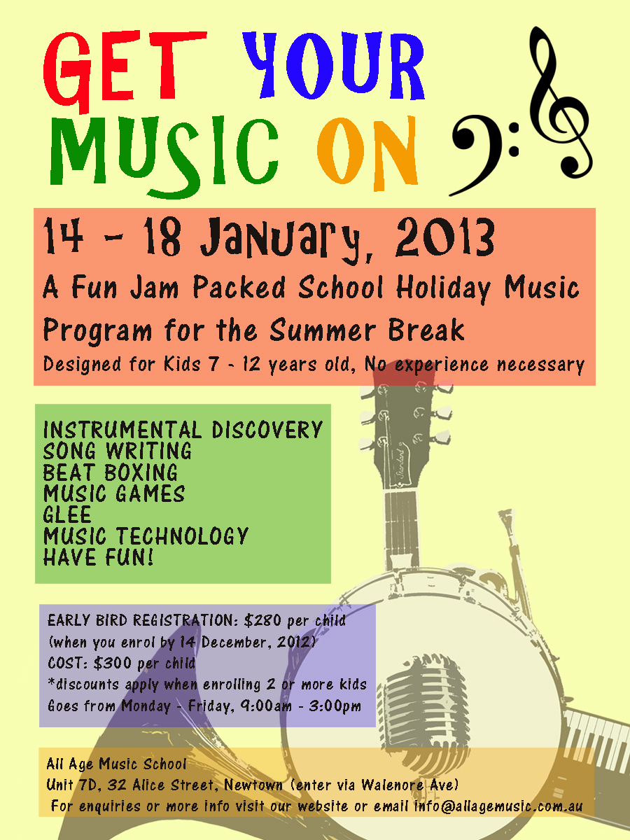 Poster design program - Poster Design By Danny Young For Design To Promote School Holiday Music Program For Kids
