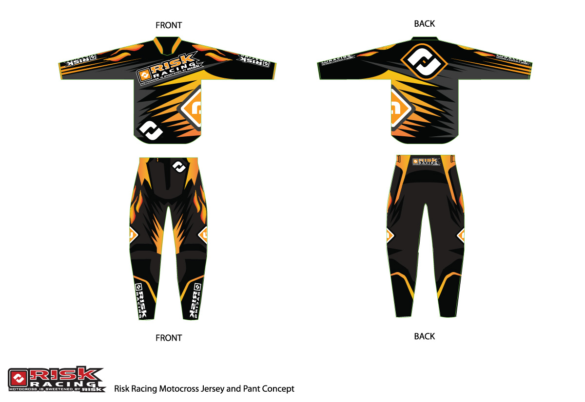 Design t shirt motocross - T Shirt Design By Sergio Coelho For Motocross Jersey And Pant Design For Risk Racing