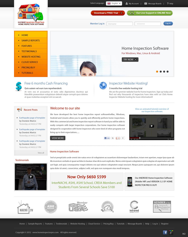 Masculine, Modern, Home Inspection Web Design for Home Inspector Pro ...