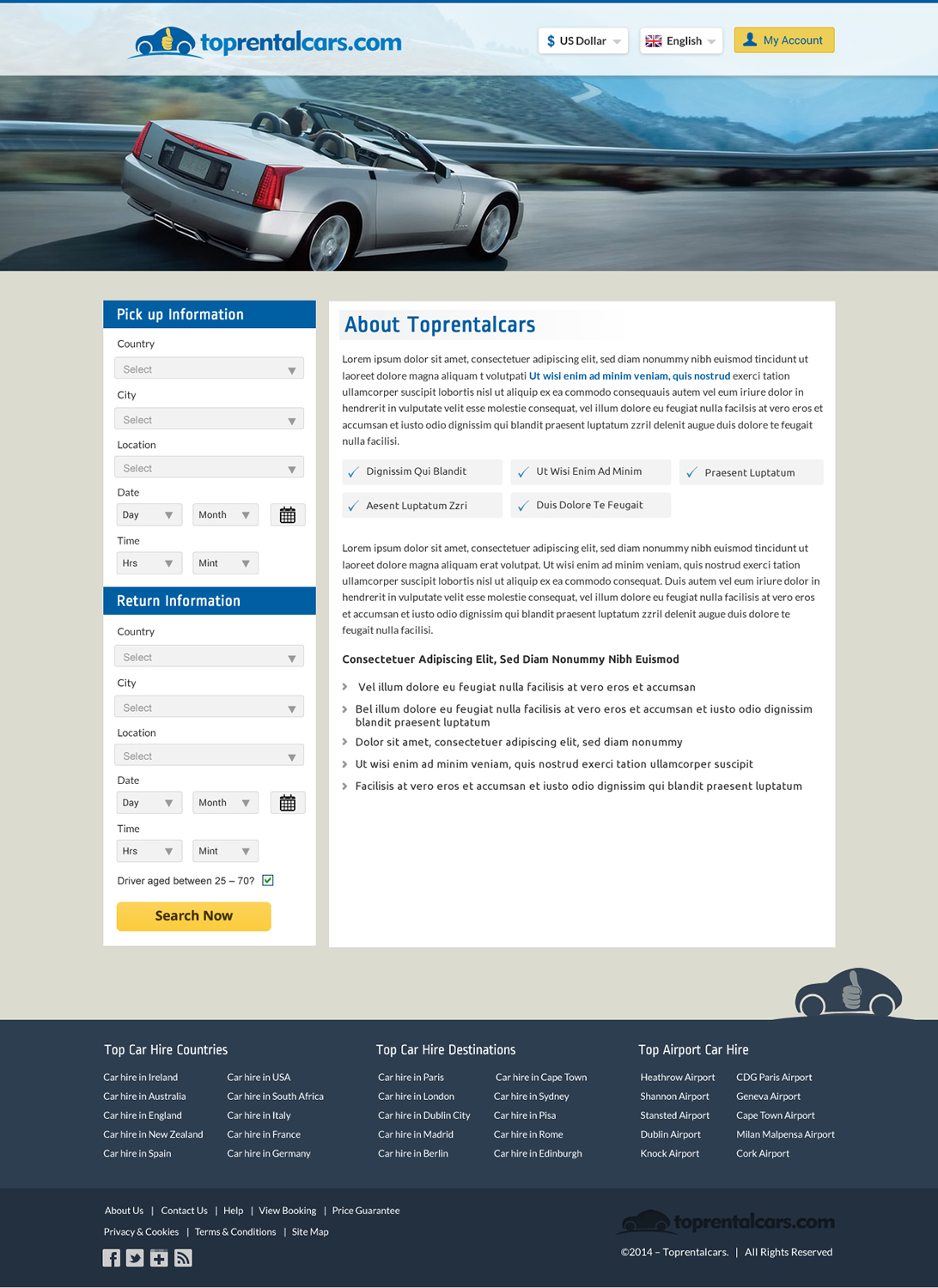 Rental Car Web Design For A Company By Sbss Design 4376552