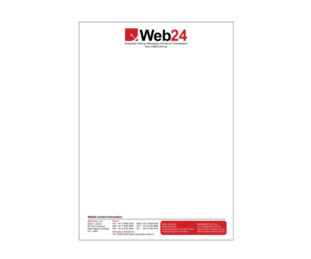 upmarket bold quote letterhead design for web24 group pty ltd by