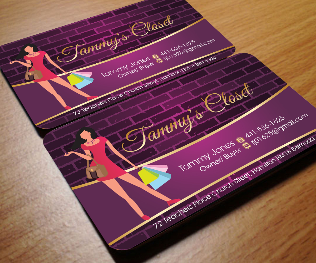 Masculine bold business card design for tammy jones by for Business card for clothing boutique