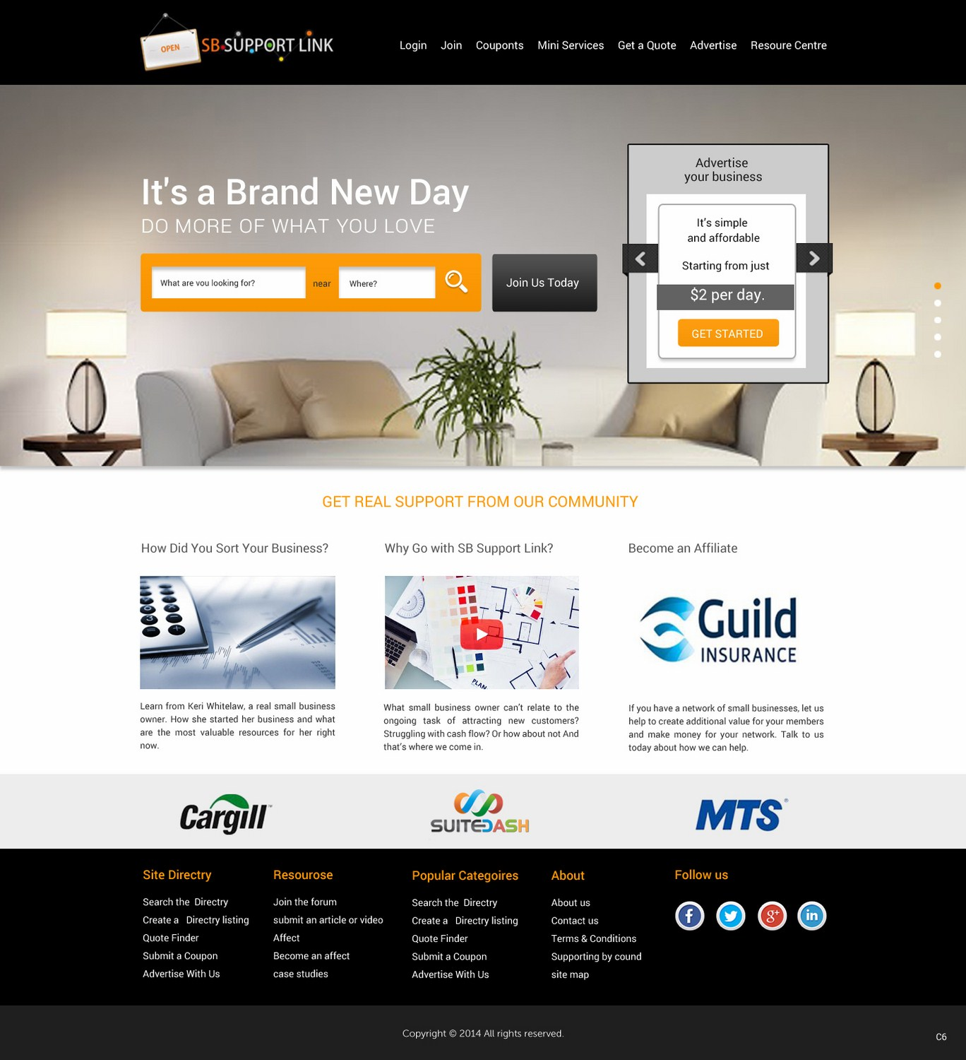 Modern, Bold, Business Web Design for Small Business Support