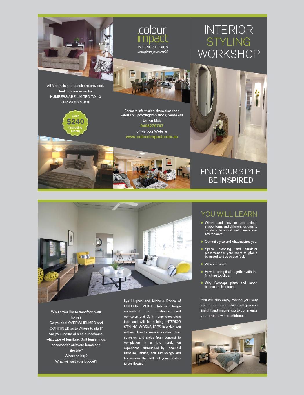 Modern professional brochure design for lyn by romy for Interior brochure designs