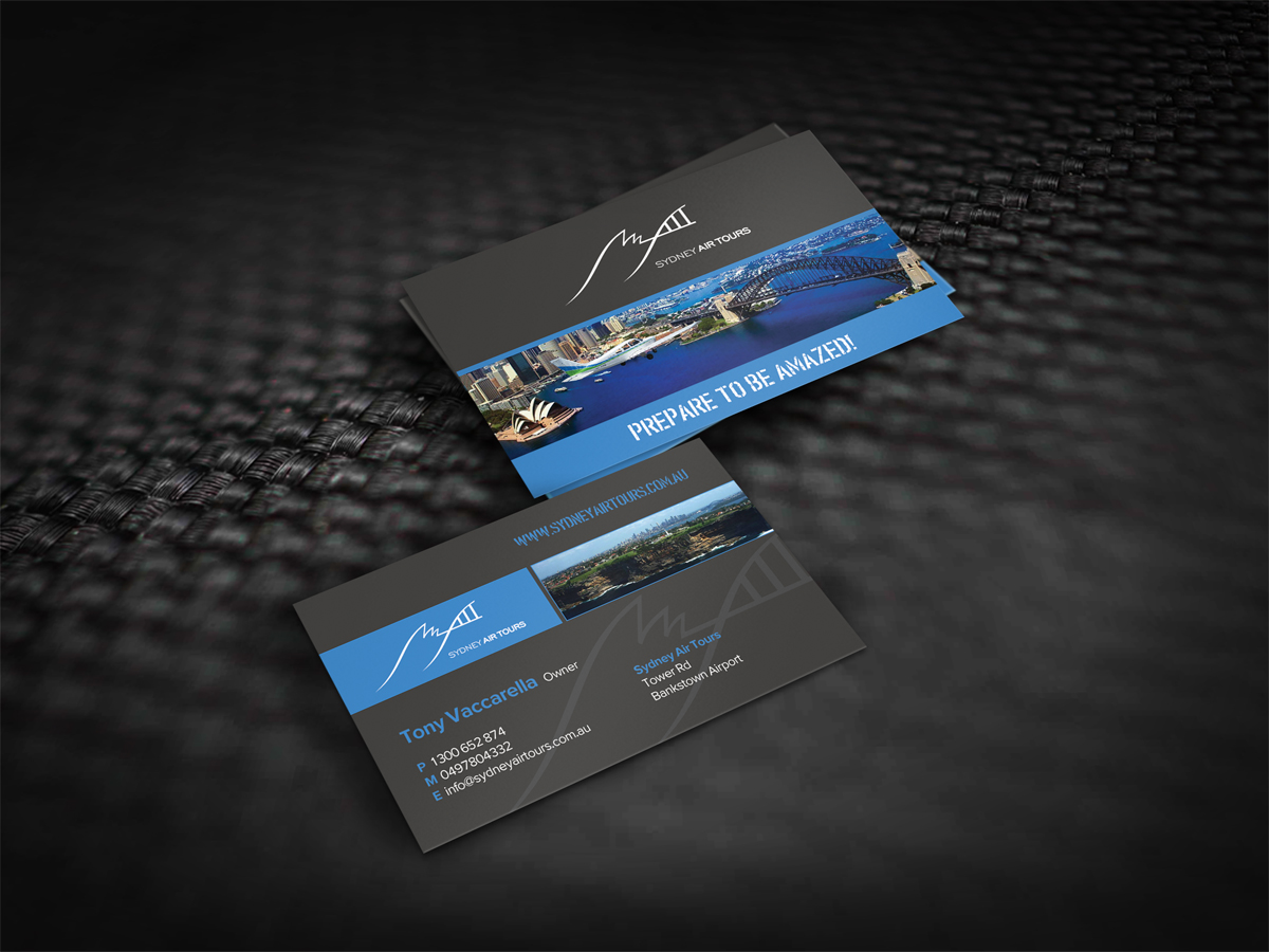 Modern professional business business card design for sydney air business card design by dirtyemm for sydney air tours design 4378726 reheart Images