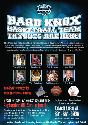 Flyer Design by Priyo Subarkah - Utah Hard Knox Basketball Tryouts.