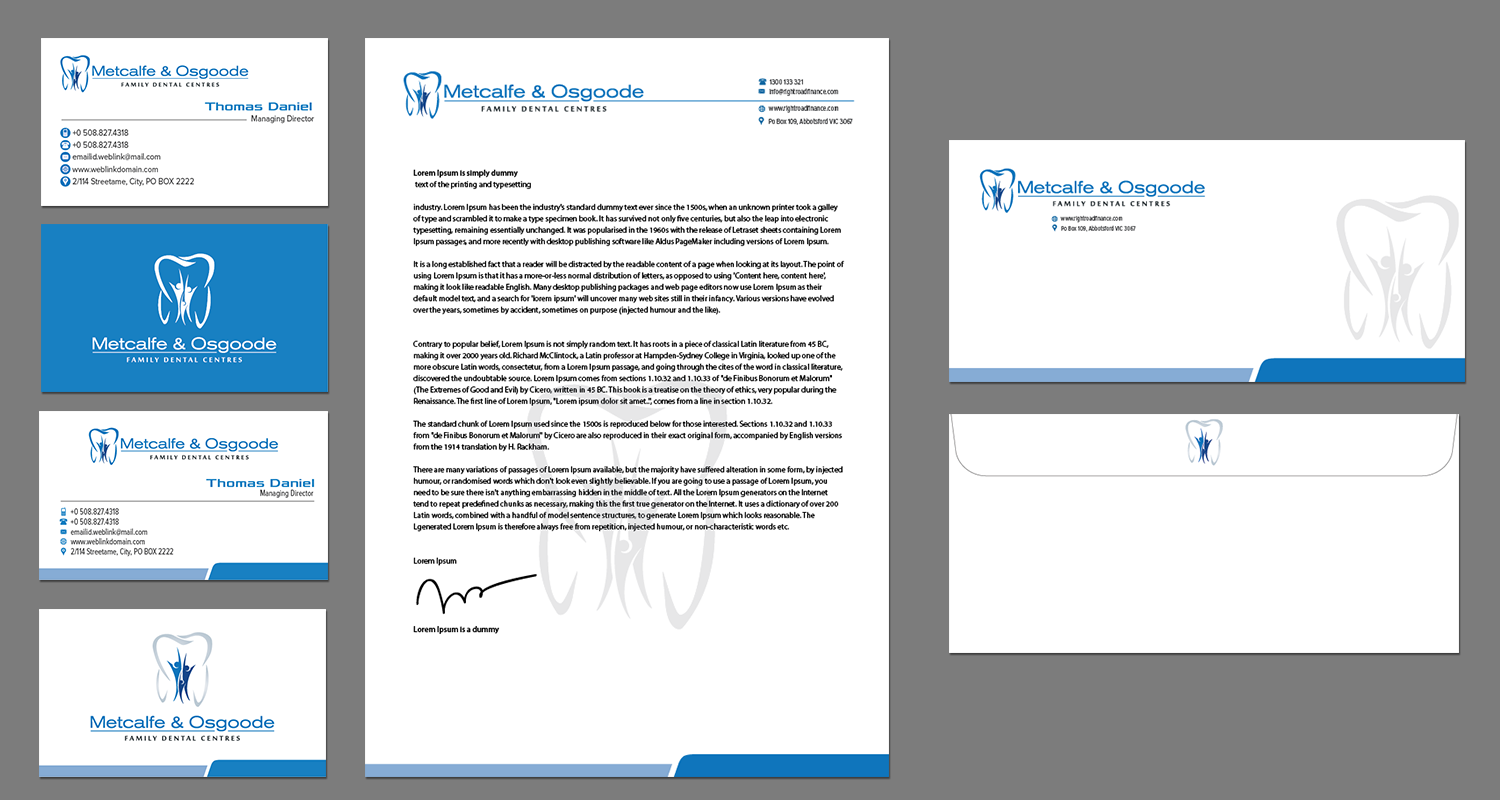 Serious modern dental letterhead design for metcalfe family dental letterhead design by kousik for metcalfe family dental centre design 4355596 reheart Image collections