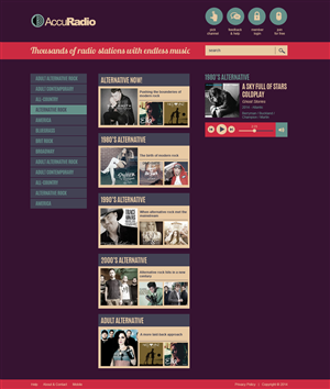 Web Design by jeckx2 - Online radio: AccuRadio homepage redesign