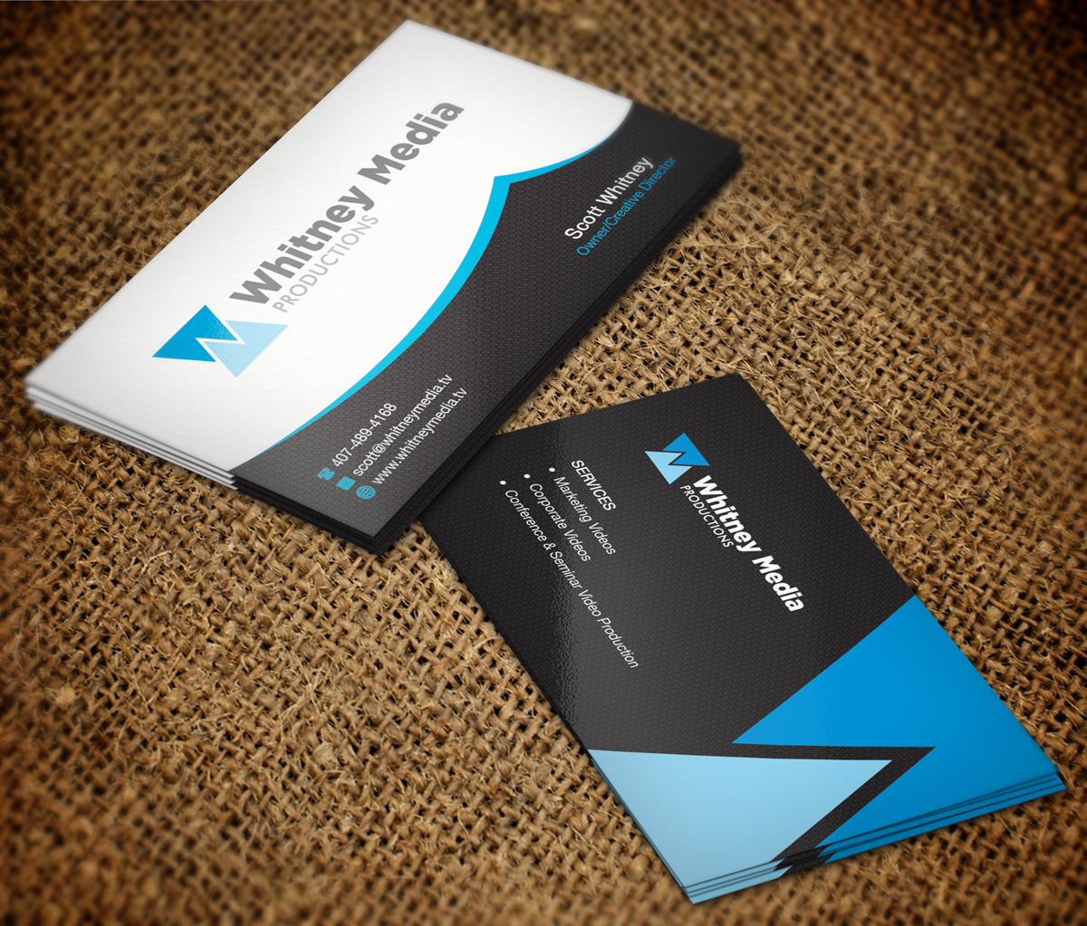 Modern professional marketing business card design for whitney business card design by nuhanenterprise for whitney media productions design 4397230 reheart Images