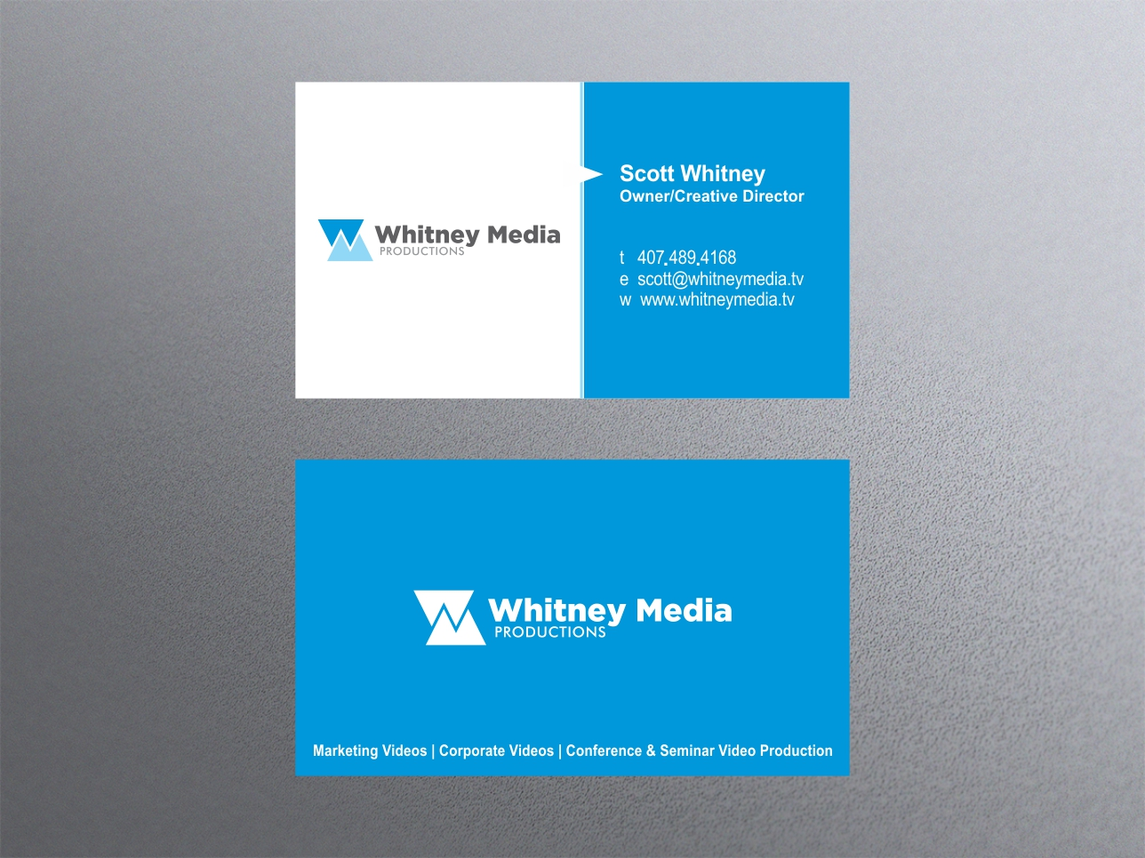 Modern professional business card design for whitney for Video production business cards