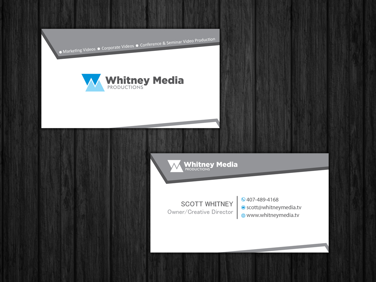 Modern professional marketing business card design for whitney business card design by nino qasoshvili for whitney media productions design 4396080 reheart Images