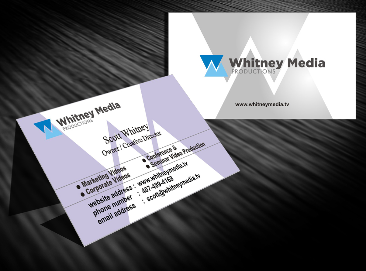 Modern professional marketing business card design for whitney business card design by ronhab graphics for whitney media productions design 4401997 colourmoves Image collections