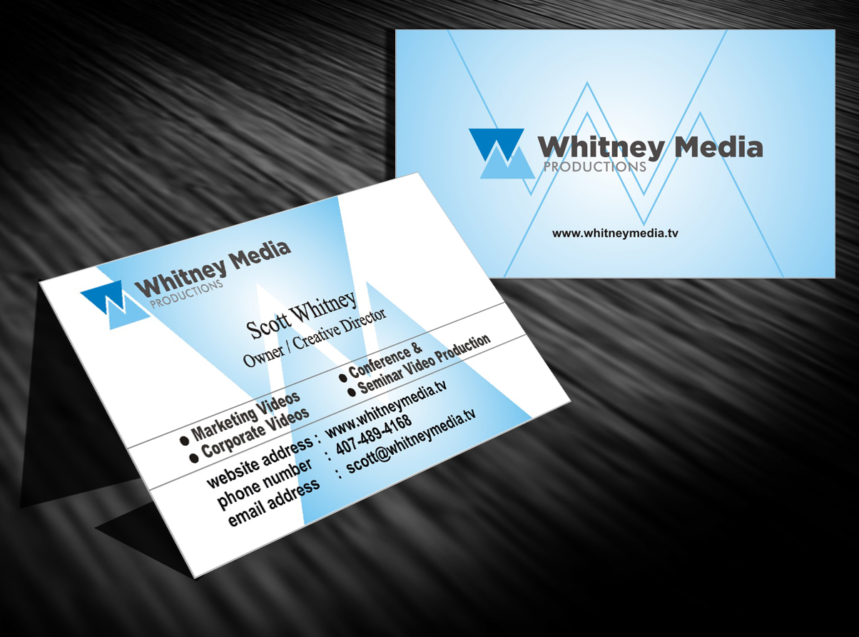 Modern professional marketing business card design for whitney business card design by ronhab graphics for whitney media productions design 4402021 reheart Images