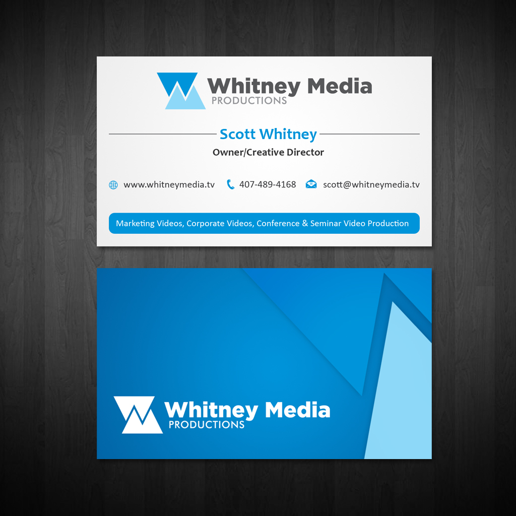 Modern professional marketing business card design for whitney business card design by owaisias for whitney media productions design 4386556 reheart Images