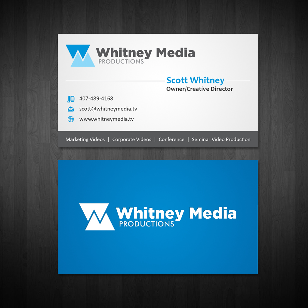 Modern professional marketing business card design for whitney business card design by owaisias for whitney media productions design 4396131 reheart Images