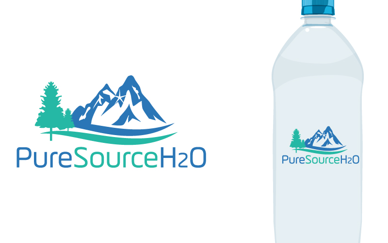 serious personable water company logo design for pure source h2o