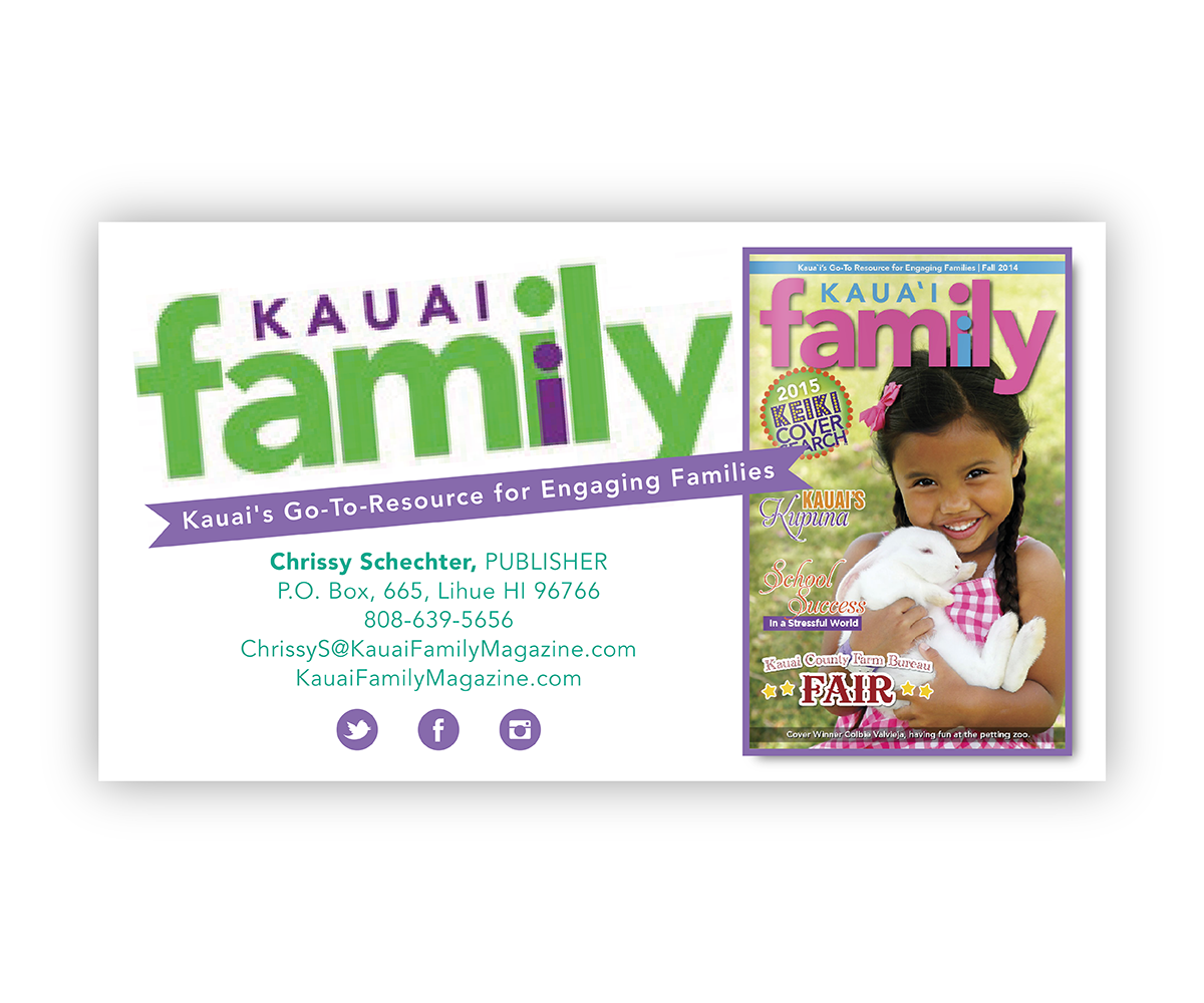 Business Business Card Design for Kauai Family Magazine LLC. by ...