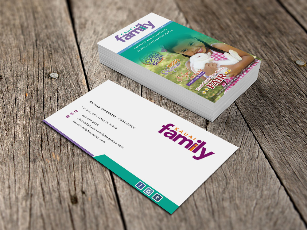 Business business card design for kauai family magazine llc by eggo business business card design for kauai family magazine llc in united states design 4412914 reheart Images