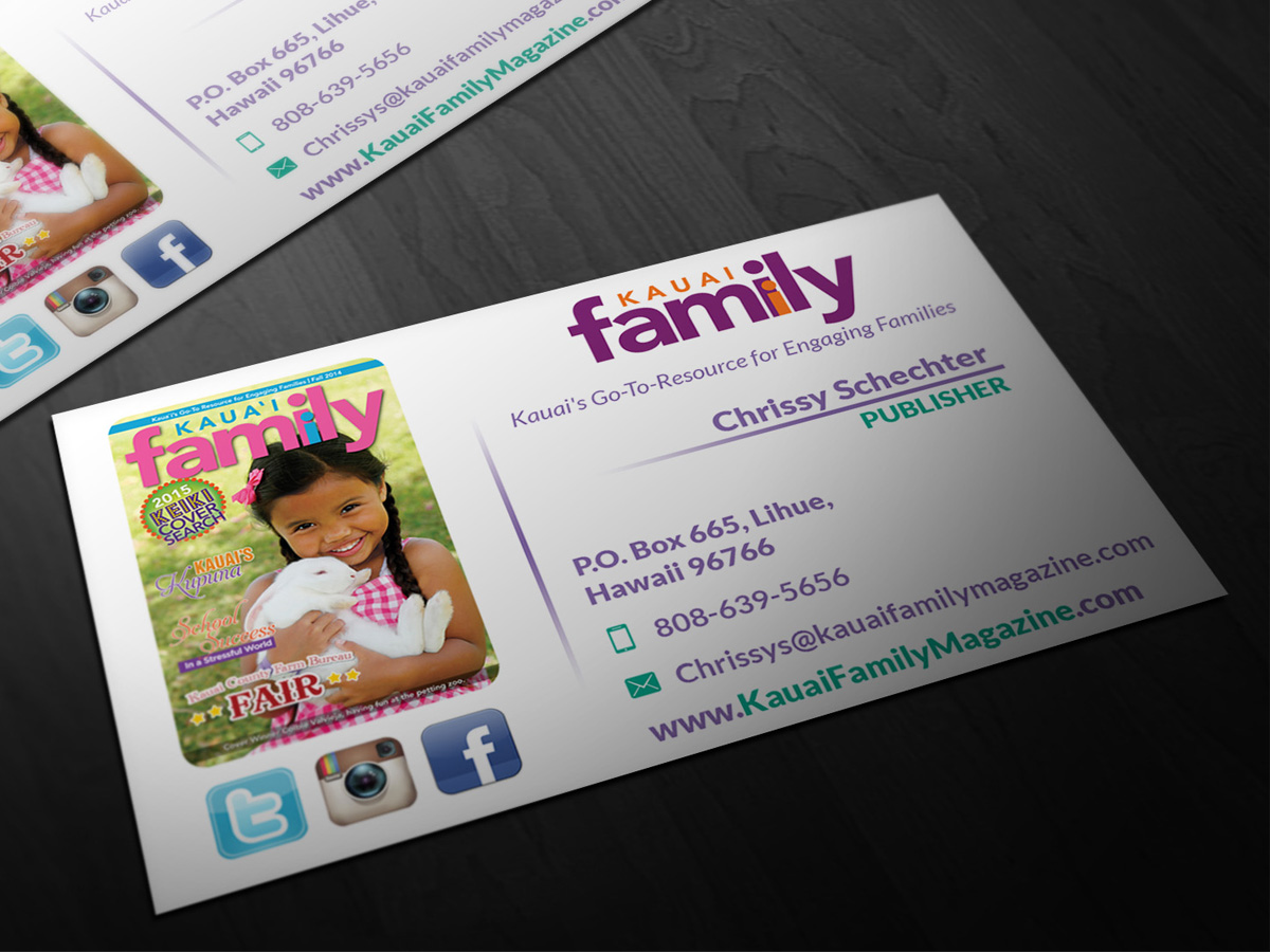 Business business card design for kauai family magazine llc by business business card design for kauai family magazine llc in united states design 4405336 reheart Images