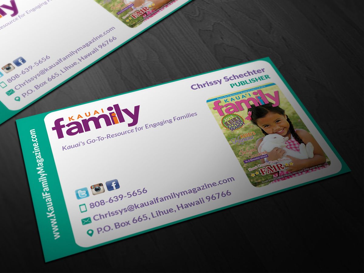 Business business card design for kauai family magazine llc by business business card design for kauai family magazine llc in united states design 4405577 reheart Image collections