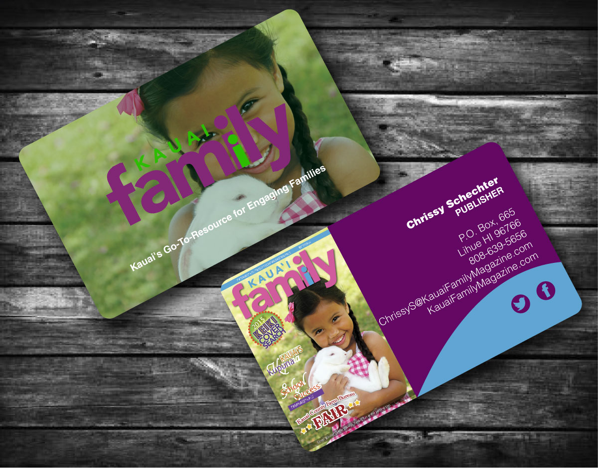 Business business card design for kauai family magazine llc by business business card design for kauai family magazine llc in united states design 4417783 reheart Image collections