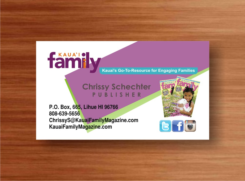 Business card design for kauai family magazine llc by ronhab business card design by ronhab graphics for a hawaii family magazine needs a business card design reheart Image collections