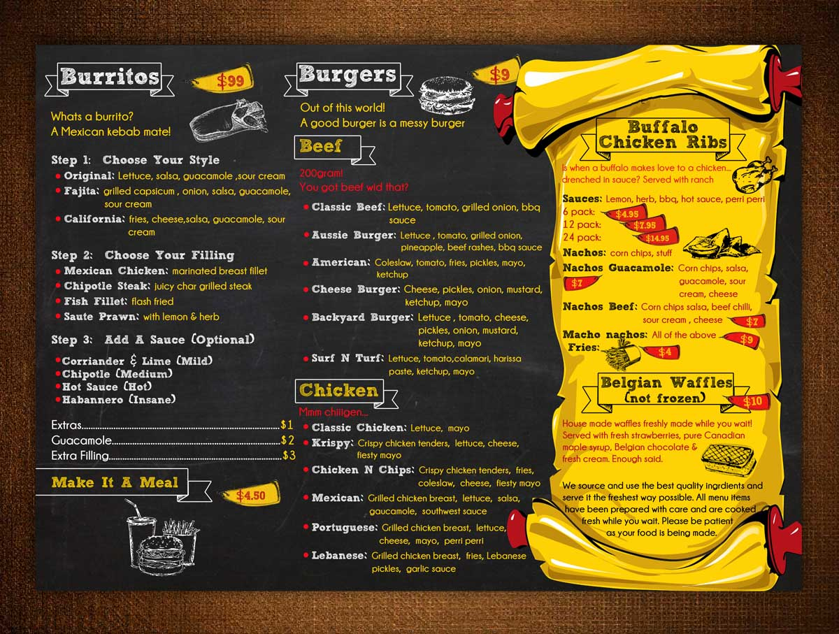 Modern playful restaurant flyer design for a company by