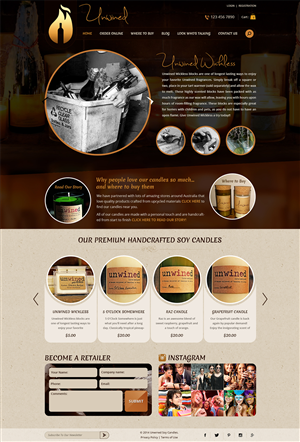Wordpress Design by creativewebdesignideas.com - Unwined Soy Candles - New WP TEMPLATE