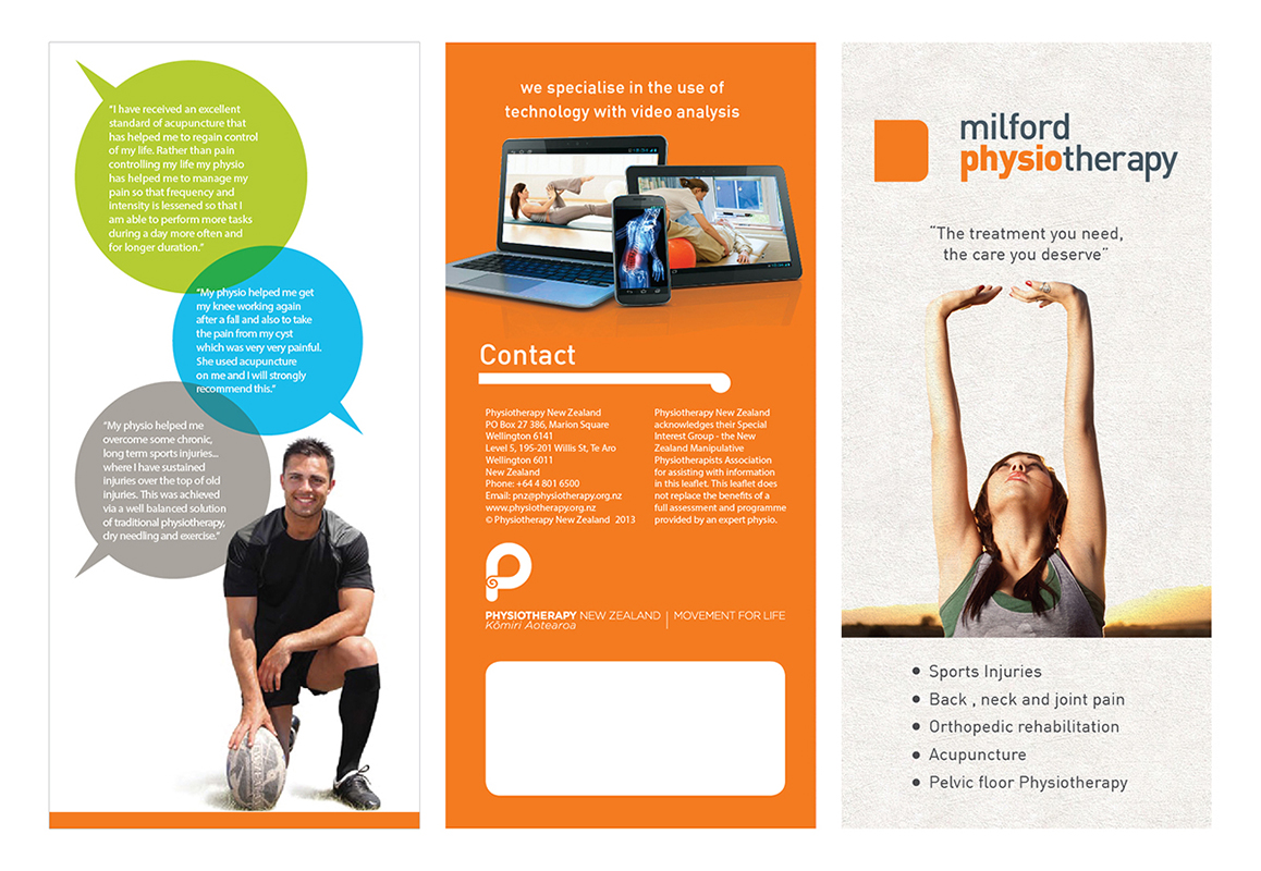 Bold modern brochure design for milford physiotherapy by Create a blueprint