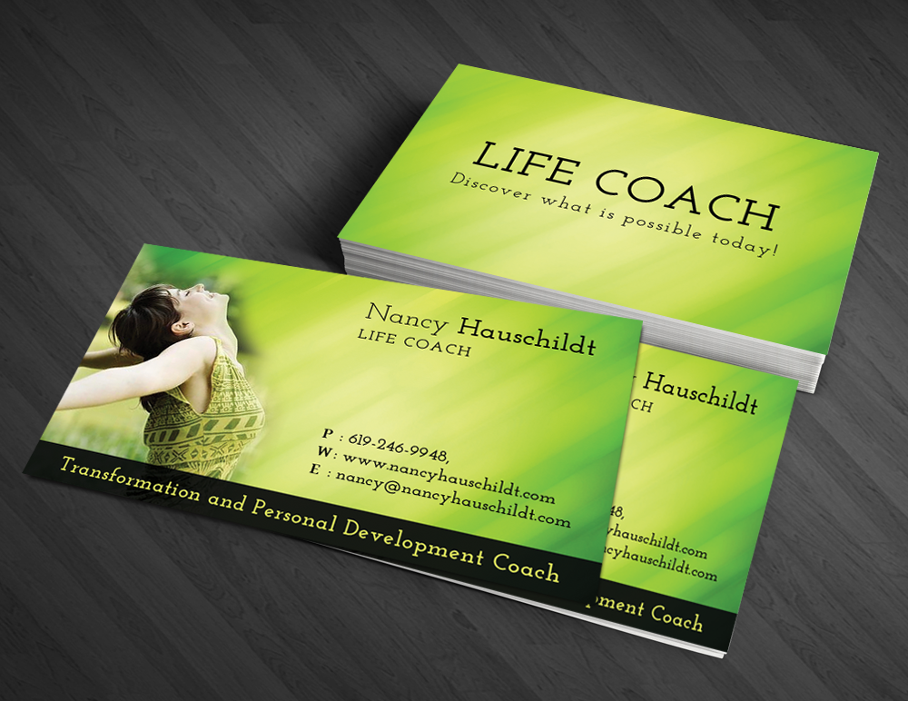 Business card design for nancy hauschildt life coaching by for Life coaching business cards