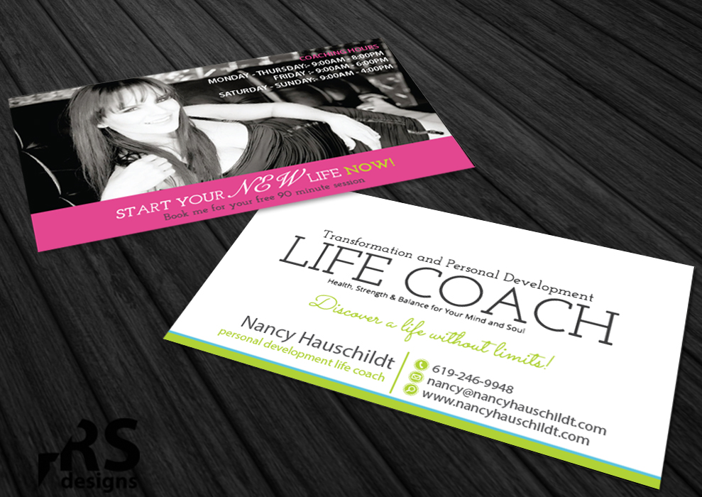 Business Card Design for Nancy Hauschildt Life Coaching by RS ...