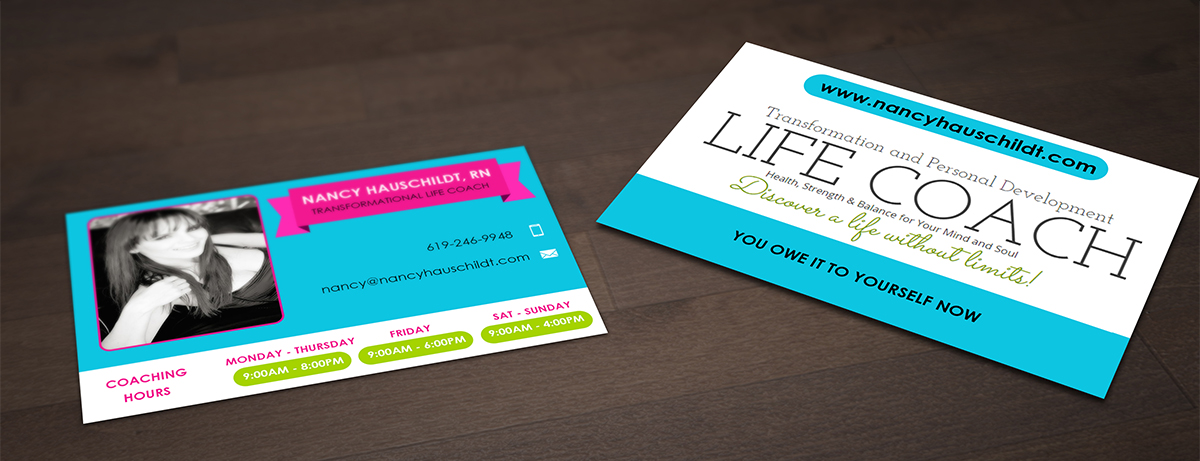 Business Card Design for Nancy Hauschildt Life Coaching by ...