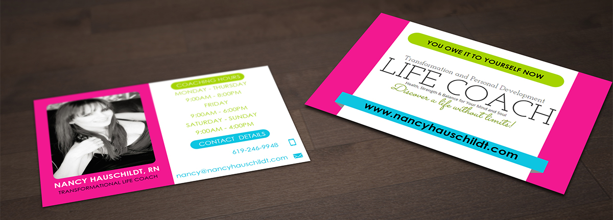 Business Card Design for Nancy Hauschildt Life Coaching by Pointless ...