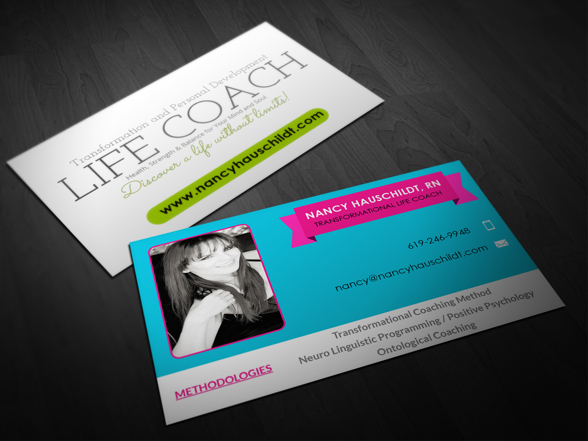 Life coach business cards design best business cards business card design for nancy hauschildt life coaching by pointless colourmoves