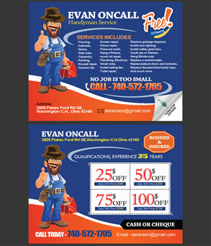 Postcard Design by NatPearlDesigns - 2 sided Handyman Postcard Design with coupon on...